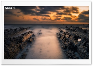 Welcombe Mouth Rock Formation, Sea, Sunset Ultra HD Wallpaper for 4K UHD Widescreen desktop, tablet & smartphone