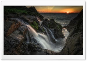 Welcombe Mouth Waterfall, Sea Ultra HD Wallpaper for 4K UHD Widescreen desktop, tablet & smartphone