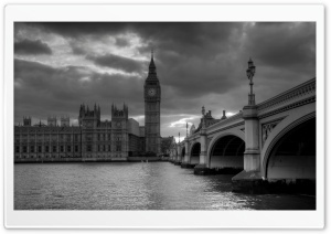 Westminster Palace Black And White HD Wide Wallpaper for 4K UHD Widescreen desktop & smartphone