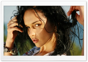 Wet Brunette Girl HD Wide Wallpaper for Widescreen