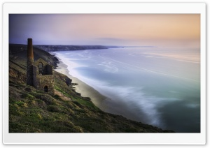 Wheal Coates Tin Mine Cornwall Panoramic View Ultra HD Wallpaper for 4K UHD Widescreen desktop, tablet & smartphone