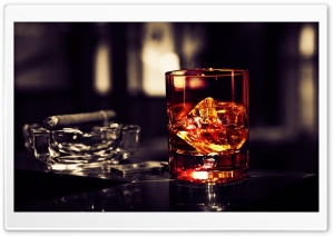 Whisky Glass With Cigar On The Table HD Wide Wallpaper for 4K UHD Widescreen desktop & smartphone