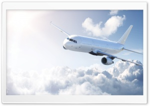 White Airplane HD Wide Wallpaper for Widescreen