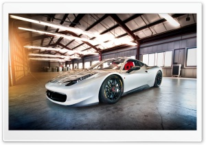 White Ferrari 430 Scuderia HD Wide Wallpaper for Widescreen