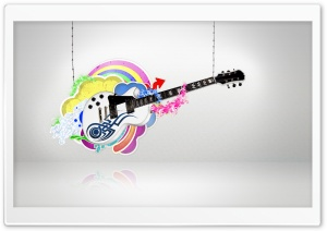 White Guitar HD Wide Wallpaper for Widescreen