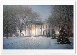 White House Winter Painting HD Wide Wallpaper for Widescreen