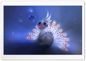 White Peacock Painting HD Wide Wallpaper for Widescreen