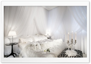 White Romantic Bedroom HD Wide Wallpaper for Widescreen