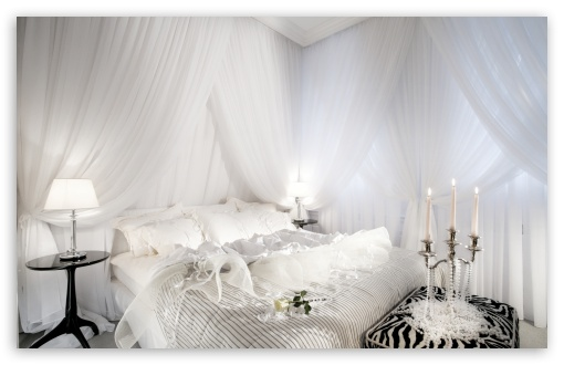 Download White Romantic Bedroom Wallpaper