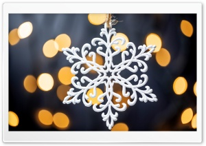White Snowflake, Golden Bokeh Ultra HD Wallpaper for 4K UHD Widescreen desktop, tablet & smartphone