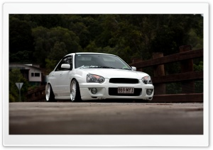 White Subaru Street Run Ultra HD Wallpaper for 4K UHD Widescreen desktop, tablet & smartphone