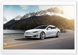 White Tesla Model S Electric Car - Mountain Road Ultra HD Wallpaper for 4K UHD Widescreen desktop, tablet & smartphone