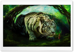 White Tiger The Guardian HD Wide Wallpaper for 4K UHD Widescreen desktop & smartphone