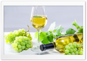 White Wine in a Glass, Bottle, Grapes, Leaves Ultra HD Wallpaper for 4K UHD Widescreen desktop, tablet & smartphone