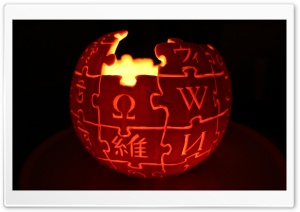Wikipedia Logo Jack o' lantern HD Wide Wallpaper for Widescreen