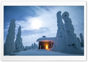 Wilderness Hut, Winter, Finland, Snowy Landscape HD Wide Wallpaper for 4K UHD Widescreen desktop & smartphone