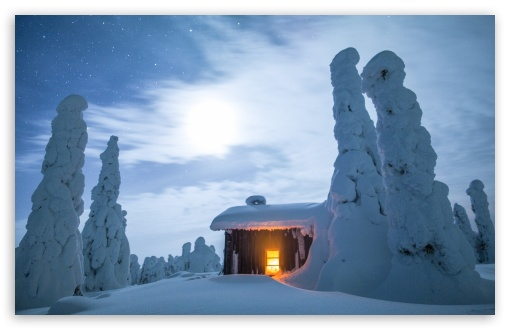 Download Wilderness Hut, Winter, Finland, Snowy Landscape HD Wallpaper