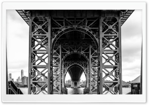 Williamsburg Bridge Black and White HD Wide Wallpaper for 4K UHD Widescreen desktop & smartphone