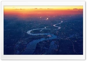 Winding River Sunset City Aerial View Ultra HD Wallpaper for 4K UHD Widescreen desktop, tablet & smartphone