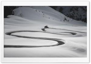 Winding Road, Mountain Giau Pass, Italy, Winter Snow HD Wide Wallpaper for 4K UHD Widescreen desktop & smartphone