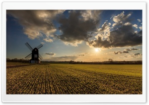 Windmill At The Sunset HD Wide Wallpaper for Widescreen