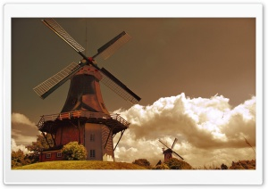 Windmills In The Netherlands HD Wide Wallpaper for 4K UHD Widescreen desktop & smartphone