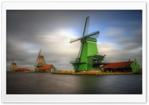 Windmills, Netherlands HD Wide Wallpaper for Widescreen