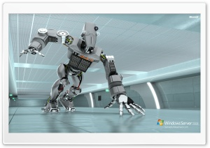 Windows Server 2008 Unleashed IT 24-7 Robot HD Wide Wallpaper for Widescreen
