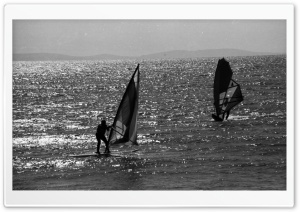 Windsurfing Black And White HD Wide Wallpaper for Widescreen