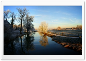 Winter - Kromme Rijn, Amelisweerd, Utrecht HD Wide Wallpaper for Widescreen