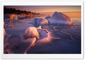 Winter, Botnic Sea, Langvind, Sweden HD Wide Wallpaper for Widescreen