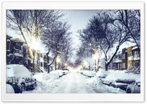 Winter City Street HD Wide Wallpaper for Widescreen