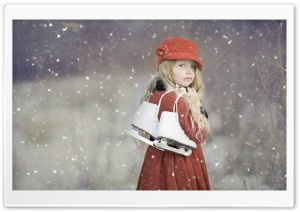 Winter, Cute Child, Ice Skating HD Wide Wallpaper for 4K UHD Widescreen desktop & smartphone