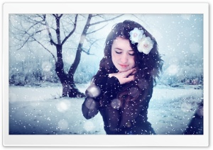 Winter Girl HD Wide Wallpaper for Widescreen