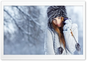 Winter Girl Portrait HD Wide Wallpaper for Widescreen