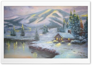 Winter House Painting HD Wide Wallpaper for Widescreen