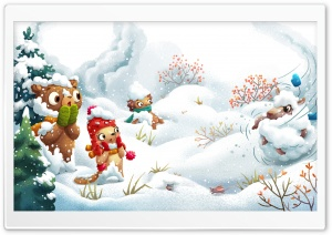 Winter Illustration HD Wide Wallpaper for 4K UHD Widescreen desktop & smartphone