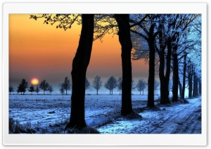 Winter Landscape With Orange Sky HD Wide Wallpaper for Widescreen
