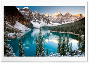 Winter, Moraine Lake, Alberta, Canada HD Wide Wallpaper for Widescreen