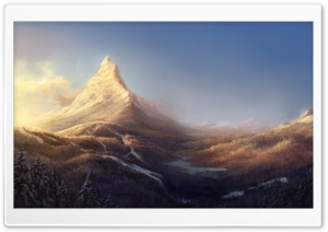 Winter Mountain Painting HD Wide Wallpaper for 4K UHD Widescreen desktop & smartphone