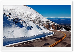 Winter Mountain Road HD Wide Wallpaper for Widescreen