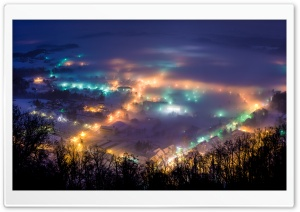 Winter night in Pregrada HD Wide Wallpaper for Widescreen