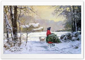 Winter Painting HD Wide Wallpaper for Widescreen