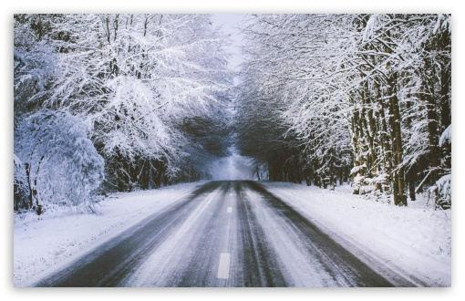 Download Winter Road HD Wallpaper