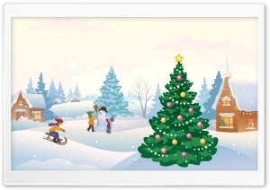 Winter Scene Illustration HD Wide Wallpaper for Widescreen