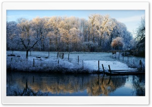Winter Scenery   Kromme Rijn, Utrecht HD Wide Wallpaper for Widescreen