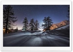 Winter, Snow, Moonlight, Trees Ultra HD Wallpaper for 4K UHD Widescreen desktop, tablet & smartphone