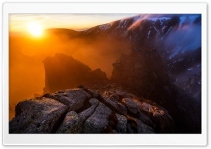 Winter Sunrise Mountain Rocks Fog Ultra HD Wallpaper for 4K UHD Widescreen desktop, tablet & smartphone