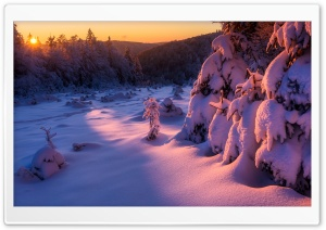 Winter Sunset Landscape HD Wide Wallpaper for Widescreen