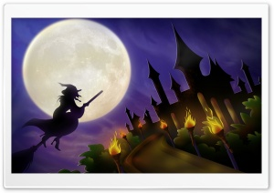 Witch On Broom Full Moon Hallowmas Halloween HD Wide Wallpaper for 4K UHD Widescreen desktop & smartphone